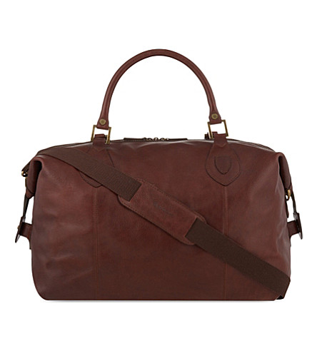 BARBOUR Travel Explorer medium leather holdall (Dk.+brown