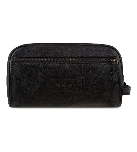 BARBOUR Aniline leather wash bag (Black