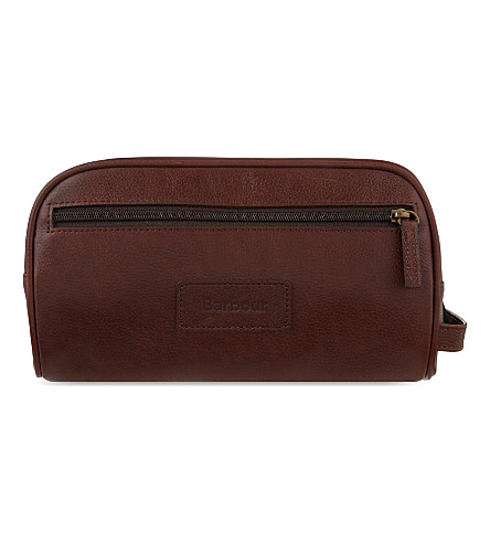 BARBOUR Aniline leather wash bag (Dk+brown
