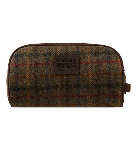 BARBOUR Tweed wash bag (Olive