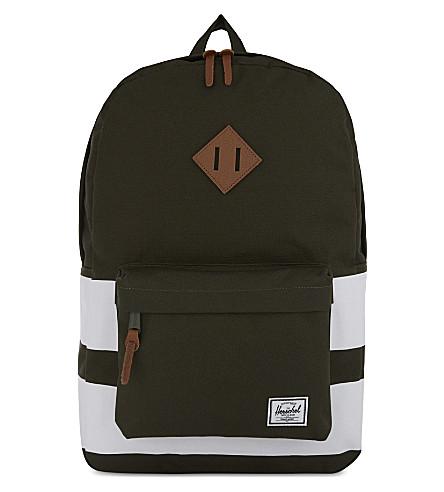 HERSCHEL SUPPLY CO Heritage canvas backpack (Frst+ngt/wht+stripe/tan