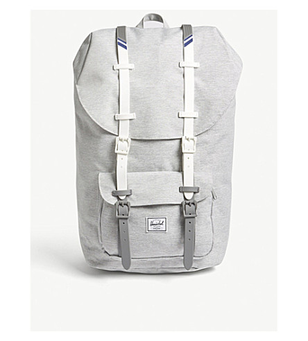 HERSCHEL SUPPLY CO Little America canvas backpack (Lt+grey/white/blueprint