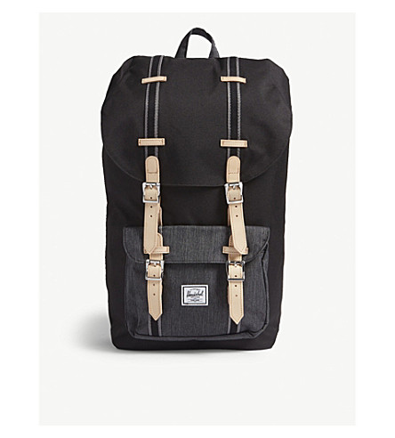 HERSCHEL con America Little lona denim Mochila SUPPLY CO hebilla de Negro negro Xqx4Xrw8