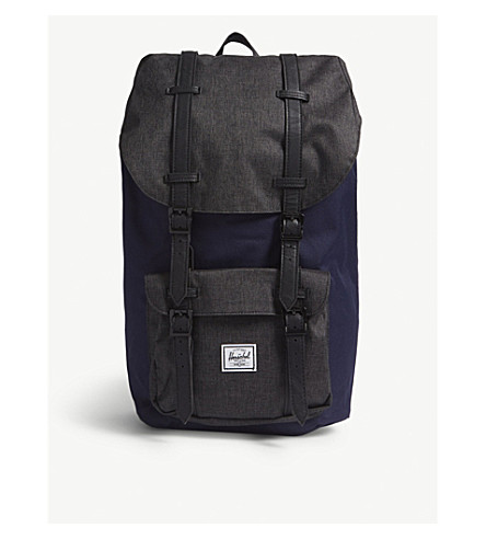 negro de hebilla SUPPLY lona con CO Peacoat HERSCHEL Mochila crosshatch America Little C1OqnPF