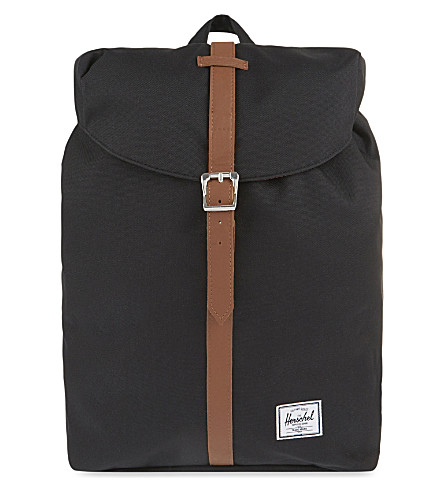 HERSCHEL SUPPLY CO Post backpack (Black/tan+syn+leather