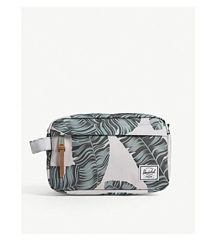 HERSCHEL SUPPLY CO Chapter palm tree canvas wash bag (Silver+birch+palm