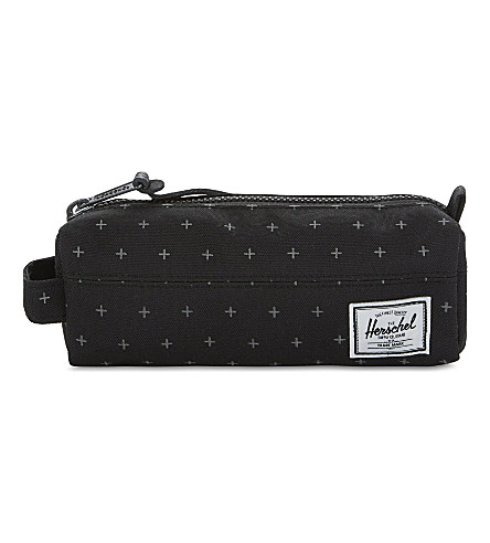 HERSCHEL SUPPLY CO Settlement cross-print canvas pencil case (Black+gridlock