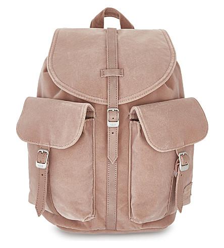 HERSCHEL SUPPLY CO Dawson velvet mini backpack (Ash+rose