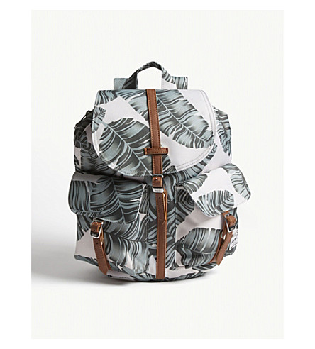 HERSCHEL SUPPLY CO Dawson leaf print canvas backpack extra small (Silver+birch+palm/tan