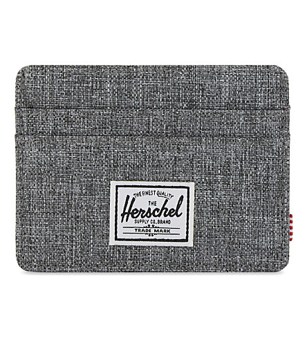 HERSCHEL SUPPLY CO Charlie canvas RFID card holder (Raven+crosshatch