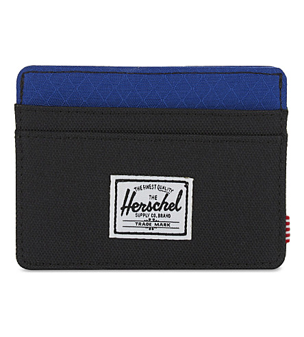 HERSCHEL SUPPLY CO Charlie canvas RFID card holder (Black/surf+the+web