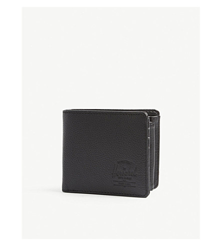 HERSCHEL SUPPLY CO Hank Coin leather wallet (Black+pebbled+leather