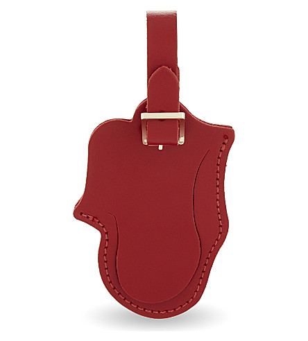 CAMBRIDGE SATCHEL COMPANY Rolling Stones Licks logo leather luggage tag (Red