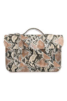 ZATCHELS Snakeskin-printed leather satchel