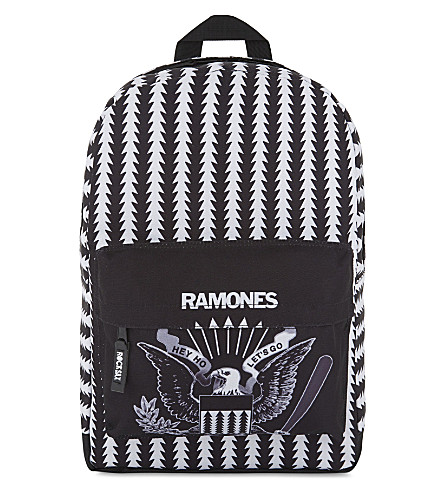 ROCK SAX Ramones Hey Ho, Let's Go chevron print backpack (Lets+go+crest