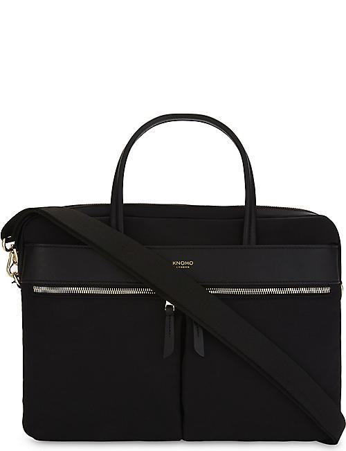 KNOMO Mayfair Hanover slim nylon and leather briefcase
