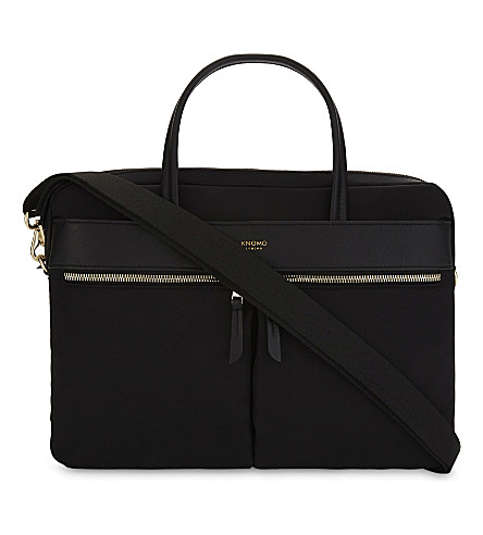 briefcase leather and nylon Black slim Hanover KNOMO leather Black slim briefcase Mayfair Hanover Mayfair and KNOMO nylon wXHAXxqd