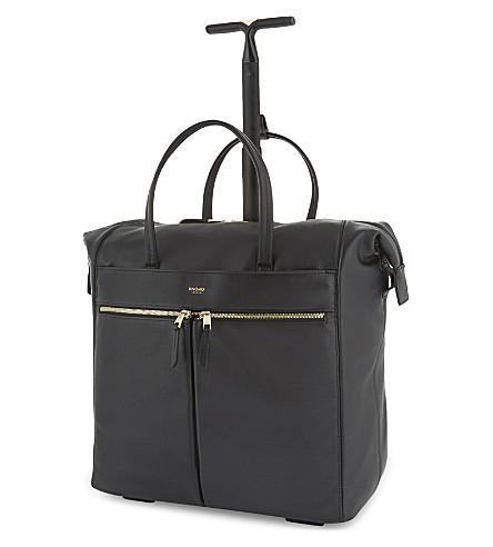 KNOMO 赛特笠真皮轮式旅行手提包 (黑色