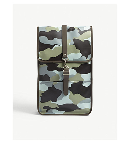 RAINS Camouflage print rubberised backpack (Sea+camo