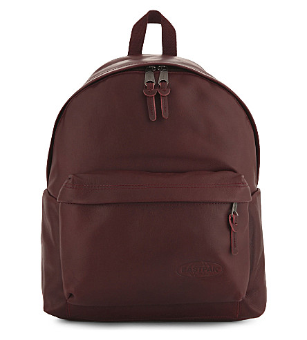 EASTPAK Padded Pak'r leather backpack (Oxblood