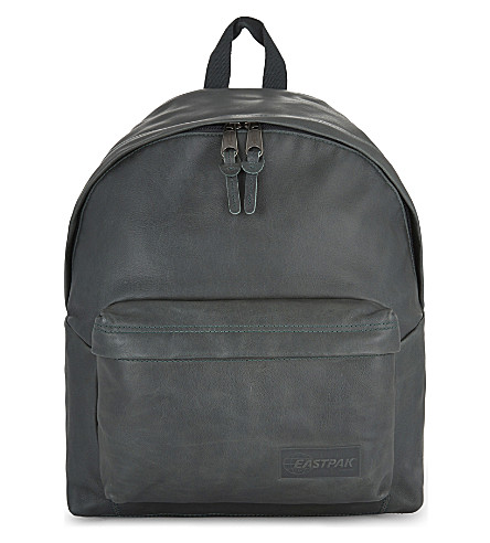 EASTPAK Authentic Padded Pak'r leather backpack (Green+leather
