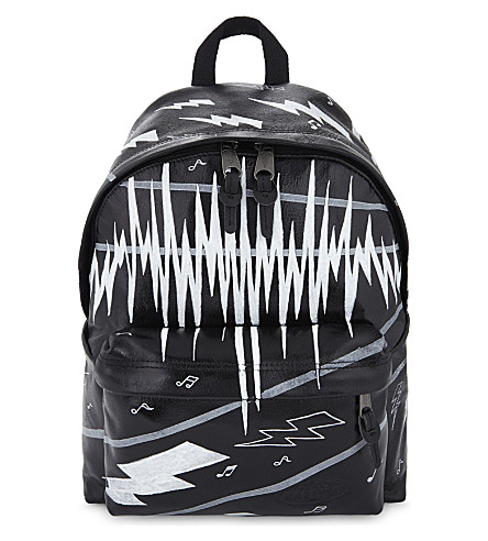 EASTPAK Authentic Padded Pak'r music-print leather backpack (Black+ink+leather