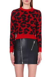 SAINT LAURENT Heart-jacquard mohair-blend jumper