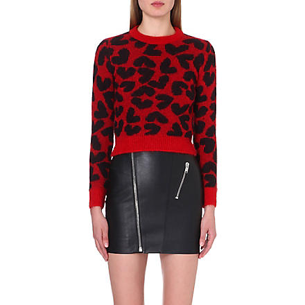 SAINT LAURENT Heart-jacquard mohair-blend jumper (Black/red