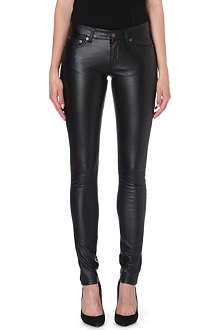 SAINT LAURENT Skinny faux-leather trousers