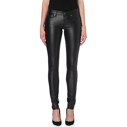 SAINT LAURENT Skinny faux-leather trousers (Black