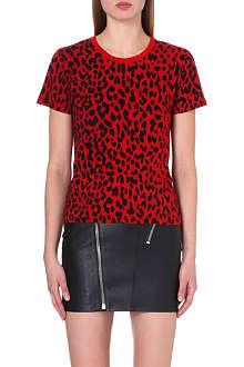 SAINT LAURENT Leopard-print jersey t-shirt