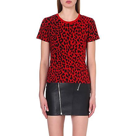 SAINT LAURENT Leopard-print jersey t-shirt (Black/red