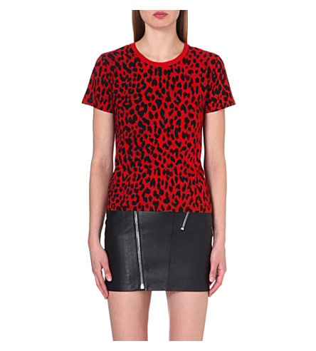 SAINT LAURENT Leopard-print jersey t-shirt (Black/red