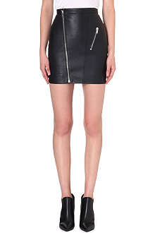 SAINT LAURENT Zip-detail leather skirt
