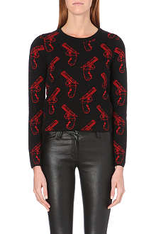SAINT LAURENT Guns jacquard-knit jumper
