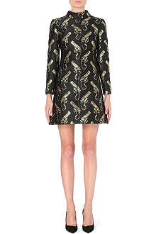 SAINT LAURENT Gold Guns jacquard dress