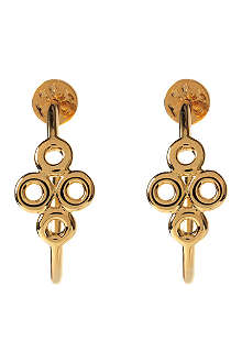 TORY BURCH Clover 16ct gold-plated hoop earrings