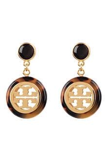TORY BURCH Logo 16ct gold-plated drop earrings