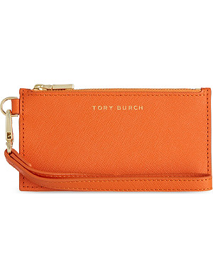 TORY BURCH York saffiano leather zipped card case