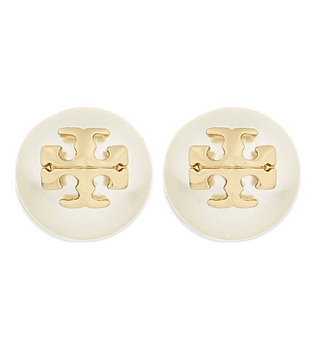 TORY BURCH Swarovski-crystal pearl stud earrings (Ivory / shiny gold