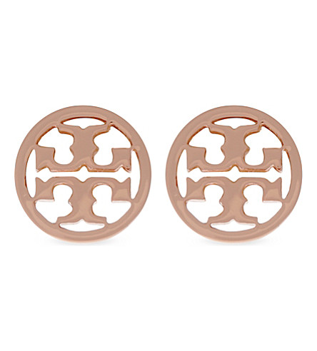 TORY BURCH Logo circle stud earrings (Rose gold