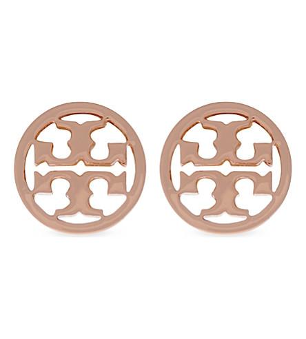 TORY BURCH Logo circle stud earrings (Rose gold