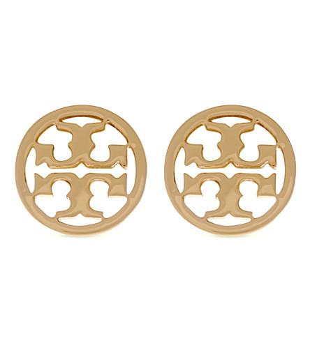 TORY BURCH Logo circle stud earrings (Shiny gold