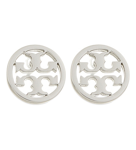 TORY BURCH Logo circle stud earrings (Tory silver