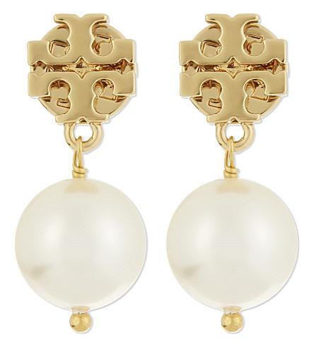 TORY BURCH Crystal pearl drop earrings (Ivory gold