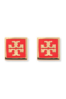 TORY BURCH Logo square stud earrings