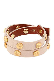 TORY BURCH Leather wrap bolt bracelet