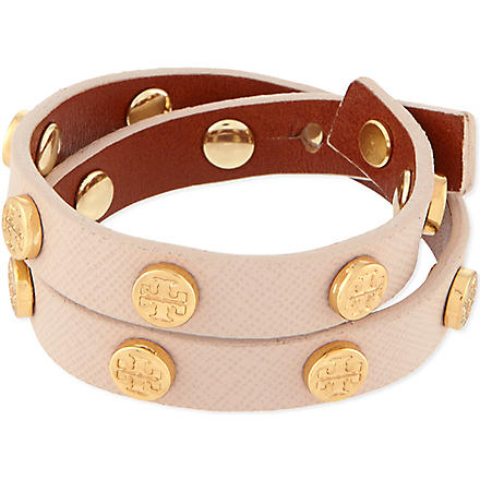 TORY BURCH Leather wrap bolt bracelet (Light+oak/shiny+brass