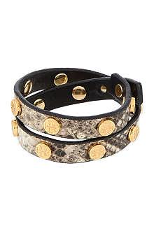 TORY BURCH Snake print double wrap bracelet