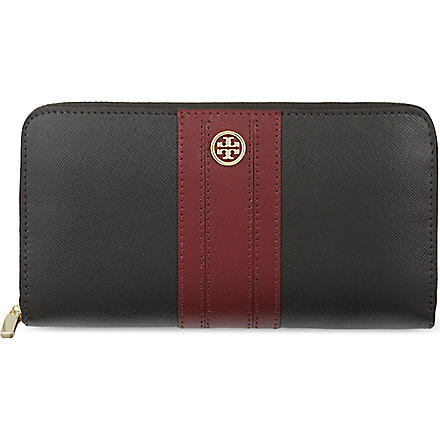 TORY BURCH Robinson stripe wallet (Black